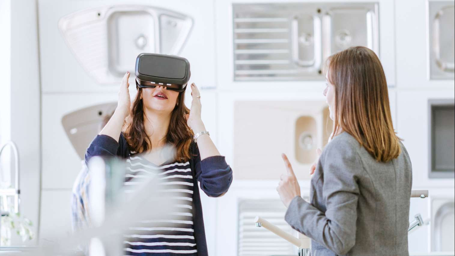 woman in a home retailer using VR technology