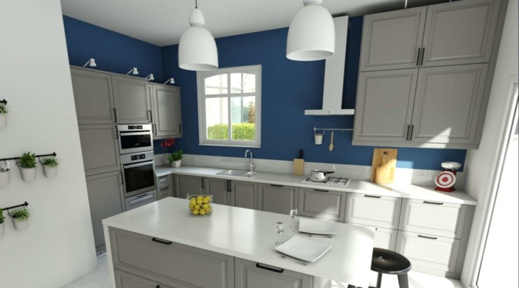 HomeByMe for kitchen retailers 3D rendering of an island kitchen with white countertop