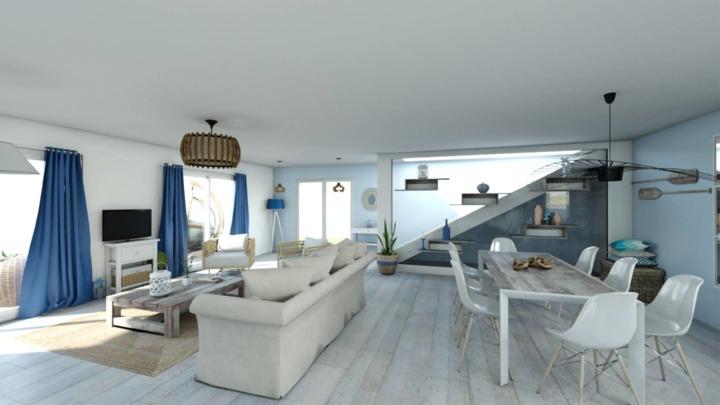 beach house living room designed in HomeByMe