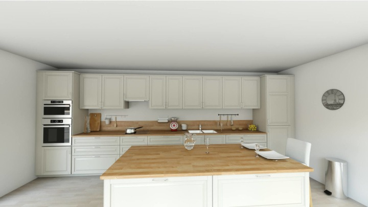 HomeByMe 3D rendering of a island kitchen with white cabinets and wood worktop