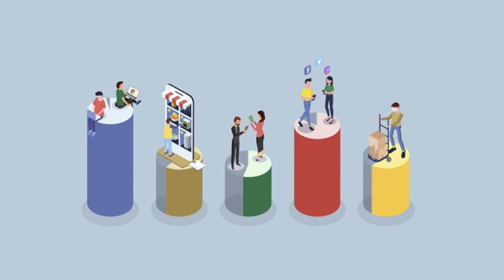cartoon shoppers on a bar graph engaged in omnichannel retail