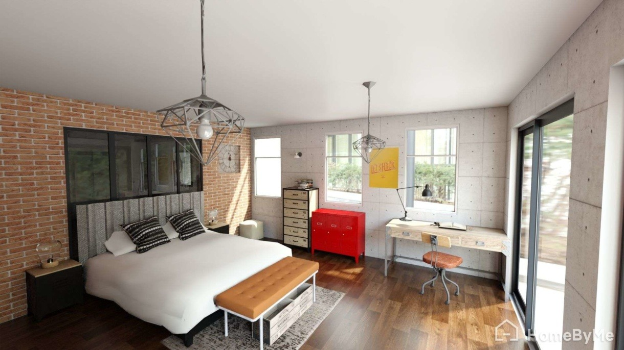 3D rendering of a bedroom from HomeByMe for Home Retailers