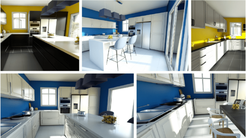 various kitchen 3D renderings from HomeByMe for kitchen retailers planning solution