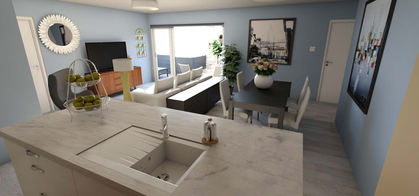 HomeByMe rendering of a living room with island kitchen