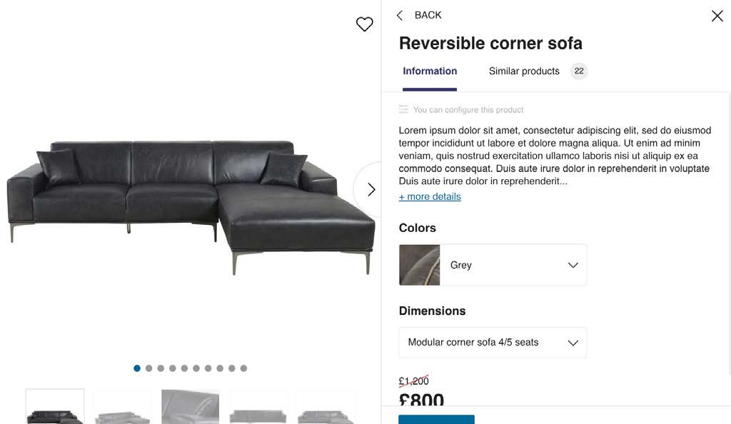 image of product rendering with description and price in HomeByMe