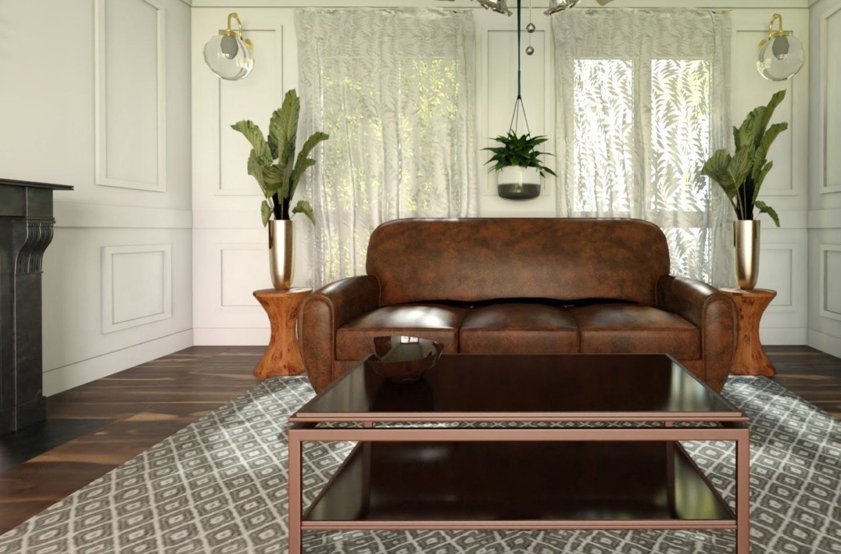 elegant living room rendering with leather sofa in HomeByMe