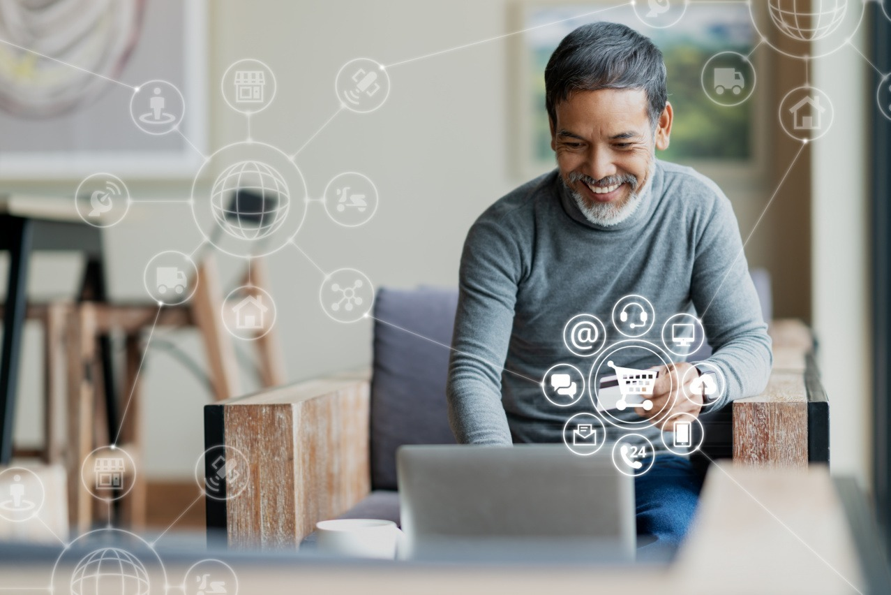 man measuring ROI on a computer