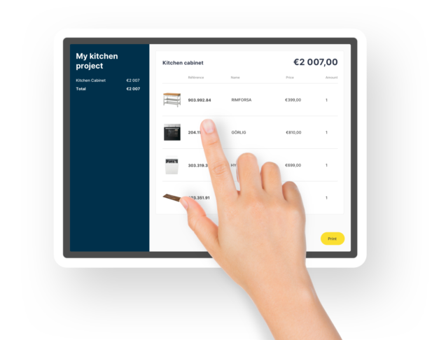 A kitchen retailer's online product catalog on HomeByMe for Kitchen Retailers