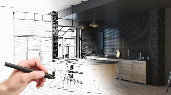 hand drawing a modern kitchen design