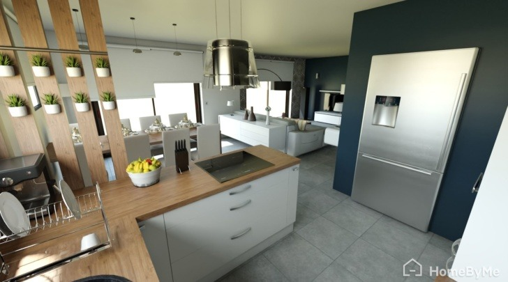 HomeByMe 3D rendering of a multi tenant kitchen
