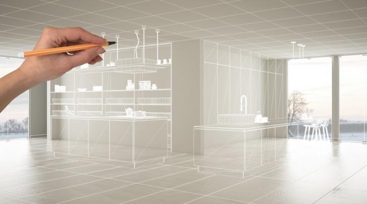 hand drawing white kitchen