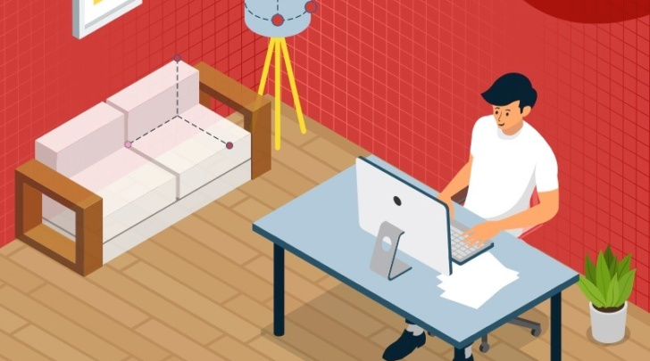 man designing his home using a 3D online planning solution