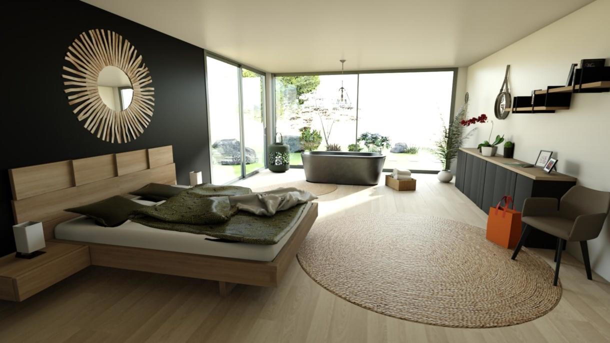 Gautier 3D planning solution bedroom HD rendering