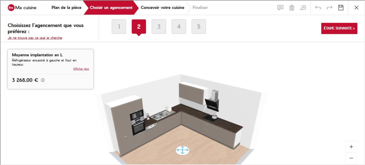 hygena 3d planning solution kitchen layout autoproposal