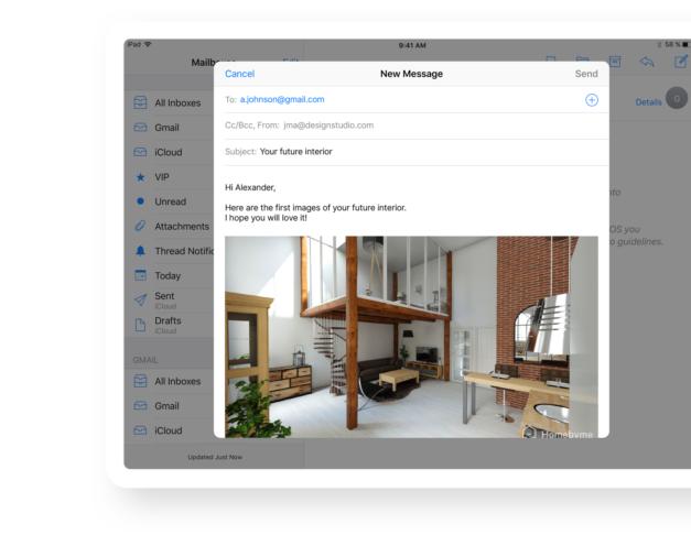 Features Pro HomeByMe- Message interior designer
