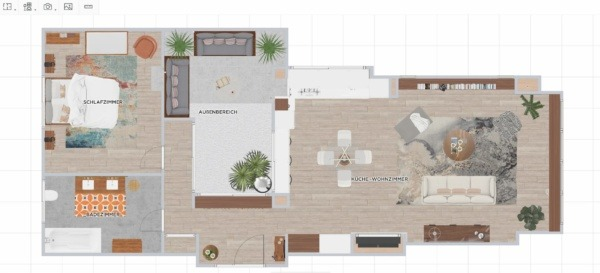 A 2D plan of a mid-century mordern interior design house made on homebyme, containing a living room, a kitchen, a bedroom, a bathroom and a terrasse