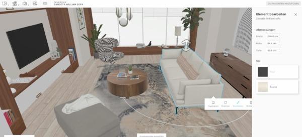 Ein 3D-Wohnzimmer im Bohème-Stil, modelliert in homebyme, mit Bohème-Möbeln und einem Bearbeitungsfeld