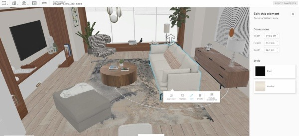 A 3D boho living room modelled in homebyme with bohemian furnitures with an edition pannel