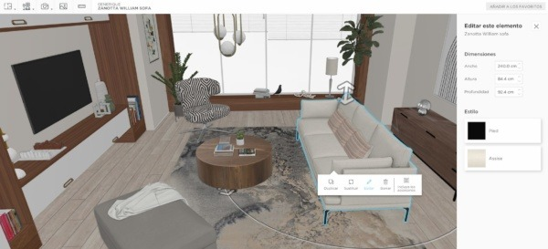 Un salón bohemio en 3D modelado en homebyme con muebles bohemios con un panel de edición
