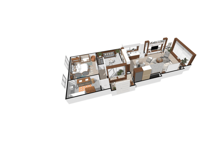 A 3D plan taken on Homebyme of a mid-century modern style house