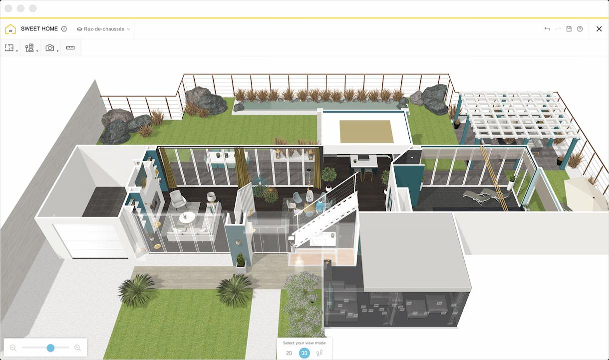A 3D plan taken on Homebyme of a modern house with an outdoor space