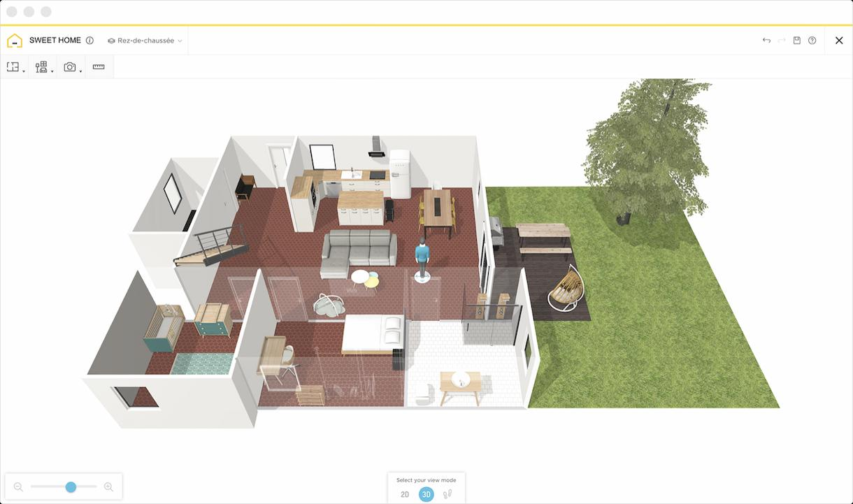 A 3D plan taken on Homebyme of a farmhouse house with an outdoor space