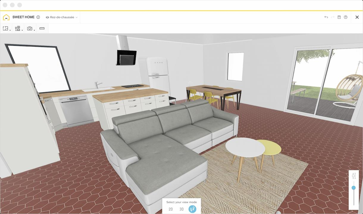 A 3D modelled living room on Homebyme
