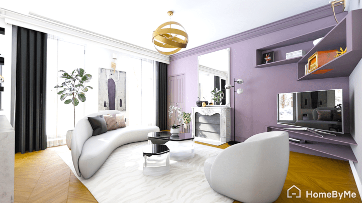 A realistic images made on HomeByMe of hollywood glam/hollywood regency living-room