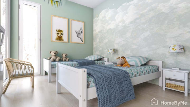 A realistic images made on HomeByMe of a modern child bedroom