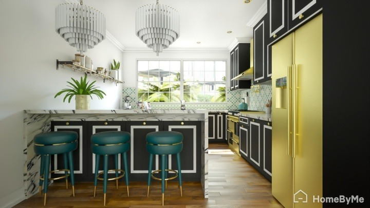 A realistic images made on HomeByMe of a hollywood glam luxury gold interior kitchen