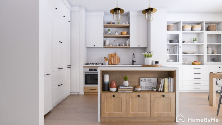 A realistic images made on HomeByMe of a modern industrial kitchen