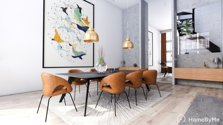 A realistic images made on HomeByMe of a mix contemporary and mid-century features