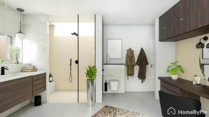 A realistic images made on HomeByMe of a modern bathroom