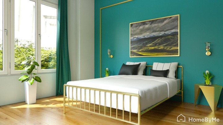 A realistic images made on HomeByMe of a hollywood glam luxury gold interior bedroom