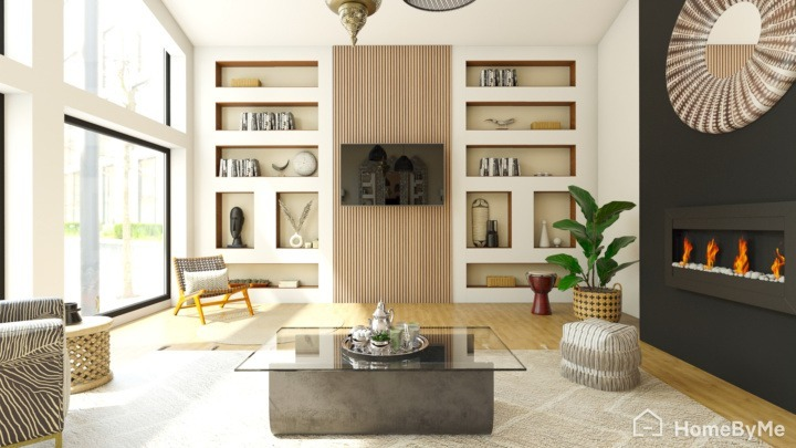 A realistic images made on HomeByMe of an ethnic living-room