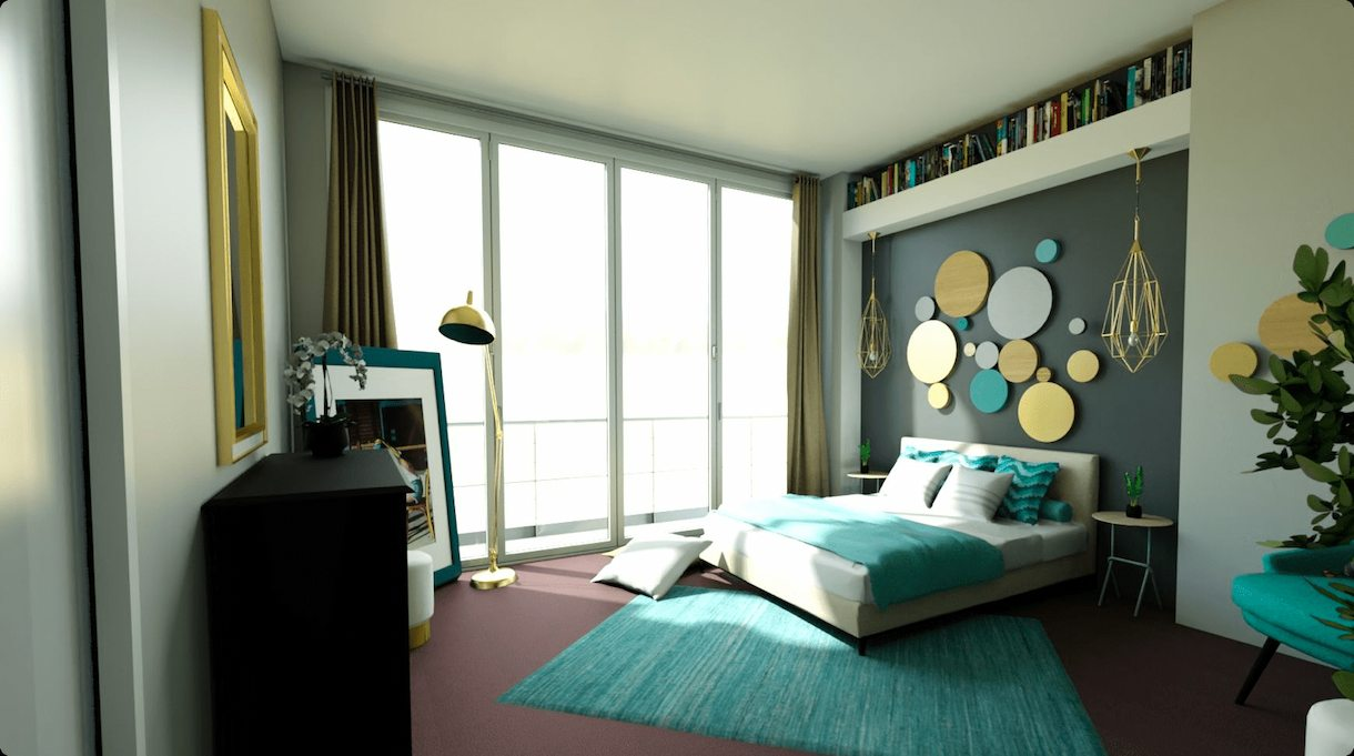 realistic image of a homebyme modelled 3D glam bedroom