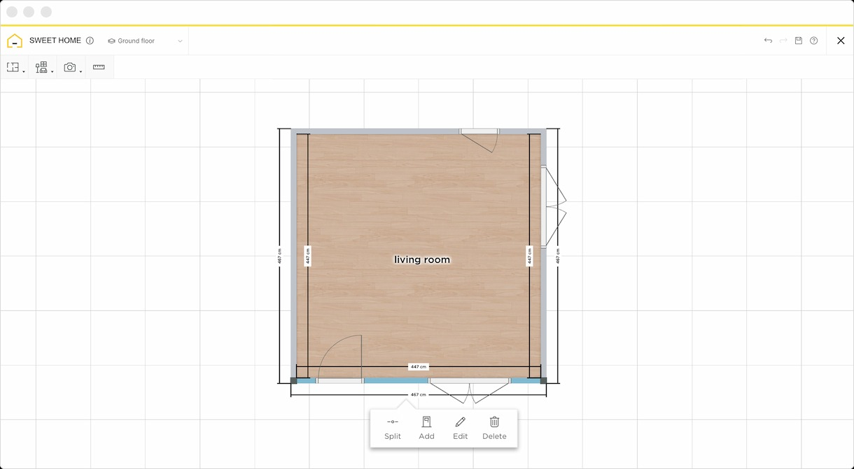 2D plan of a living room on HomeByme
