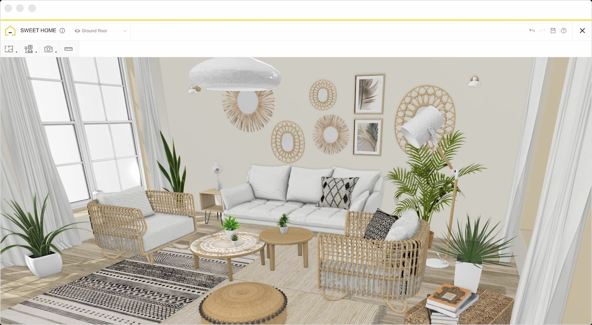 A modelled 3D boho living room in homebyme with bohemian furnitures