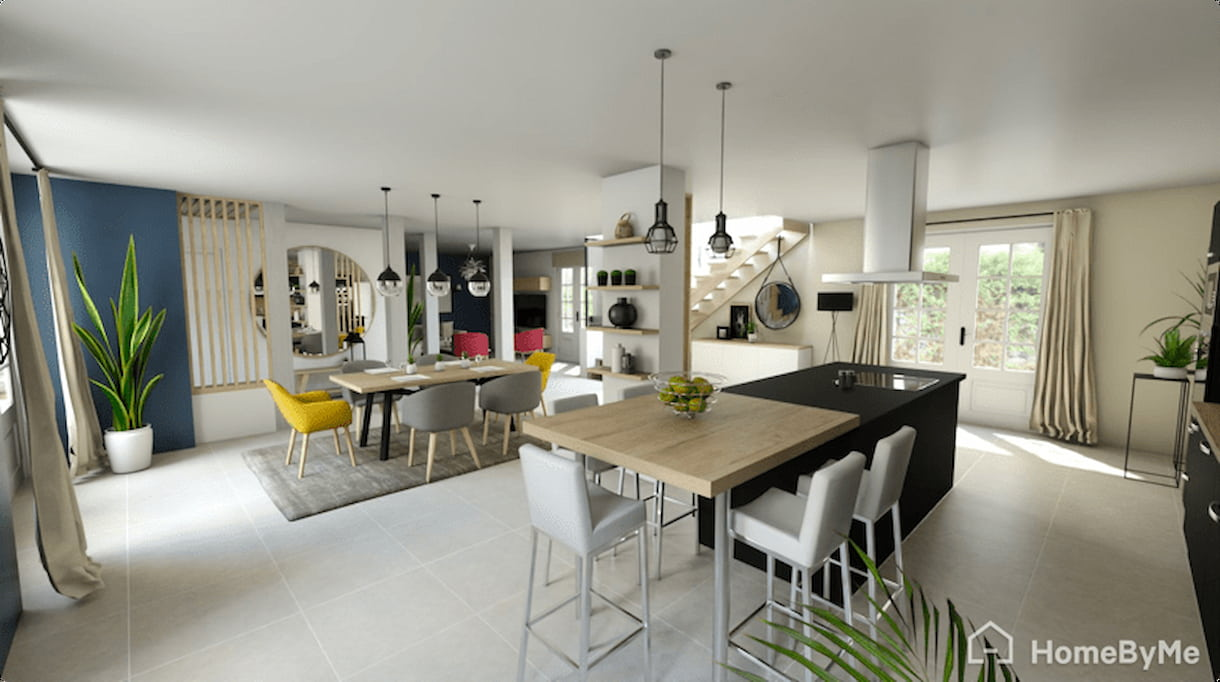 A realistic image of a homebyme 3D kitchen with a dining table, kitchen furnitures, and an outdoor